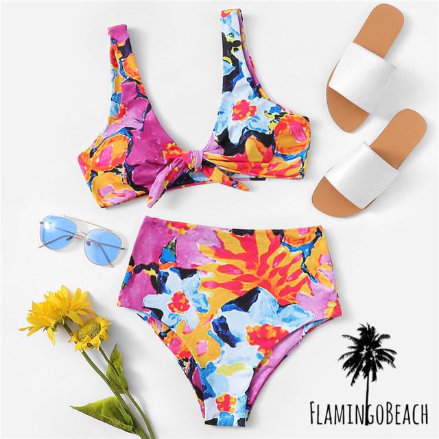 【FlamingoBeach】vivid flower bikini ハイウェストビキニ