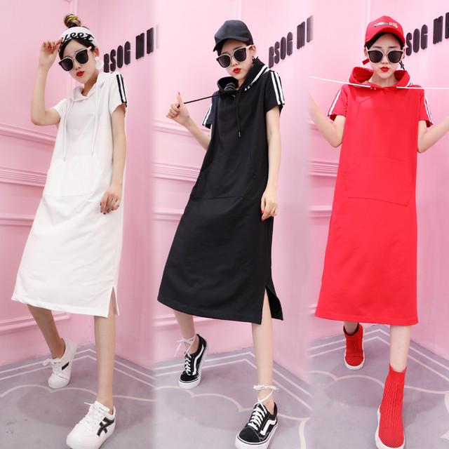 レディース サイドラインパーカーワンピース フード ホワイト/ブラック/レッド 韓国ファッション オルチャン / Candy Color Hooded Loose Dress (DCT-567270415970_b)