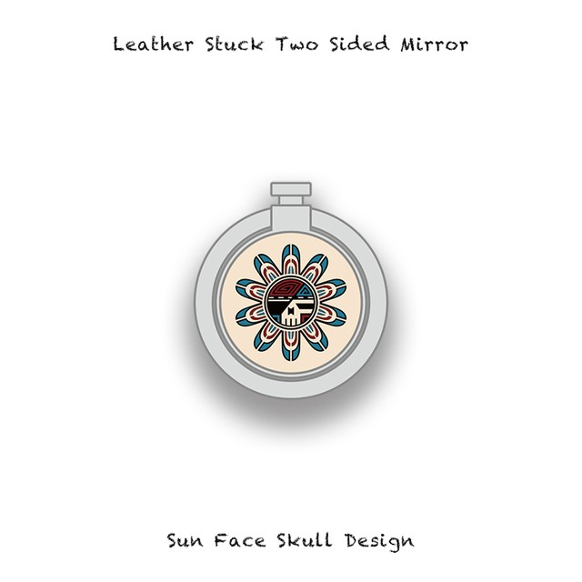 Leather Stuck Smartphone Ring / Sun Face Skull Design 001