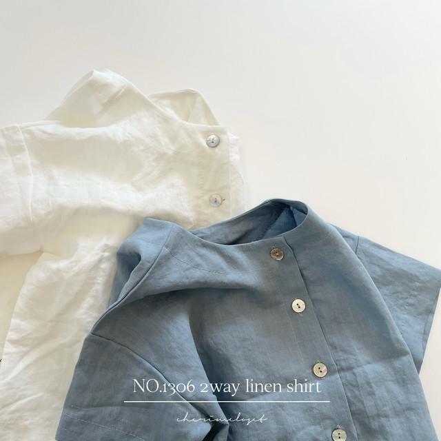 NO.1306 2way linen shirt / mamami