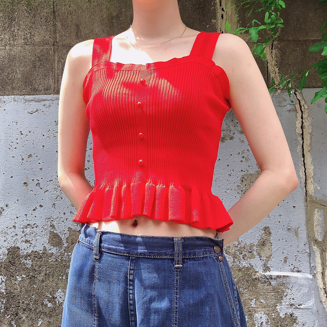 select camisole blouse -red-