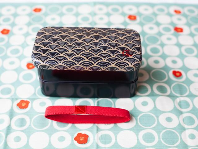 和布(わふ)布貼長角二段弁当箱 青海波 (30112)