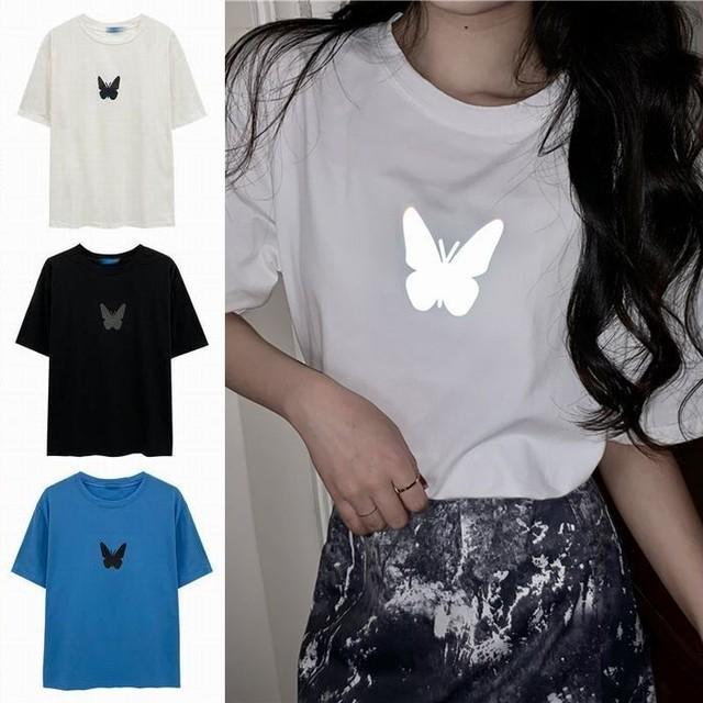 ユニセックス Tシャツ 反射光 バタフライ 半袖 ルーズ 韓国ファッション メンズ レディース トップス 大きめ カジュアル ストリートファッション TBN-617478923344