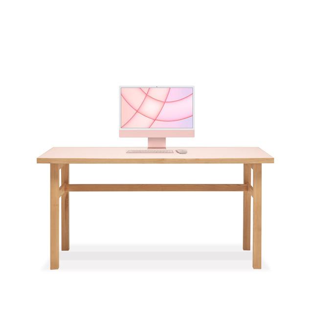 ピンクリノリウム / 栗の木 [ 木製脚デスク ]