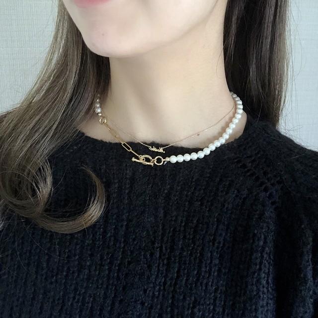 【ネックレス】金属アレルギー対応チェーン使用 チェーンパールのネックレス