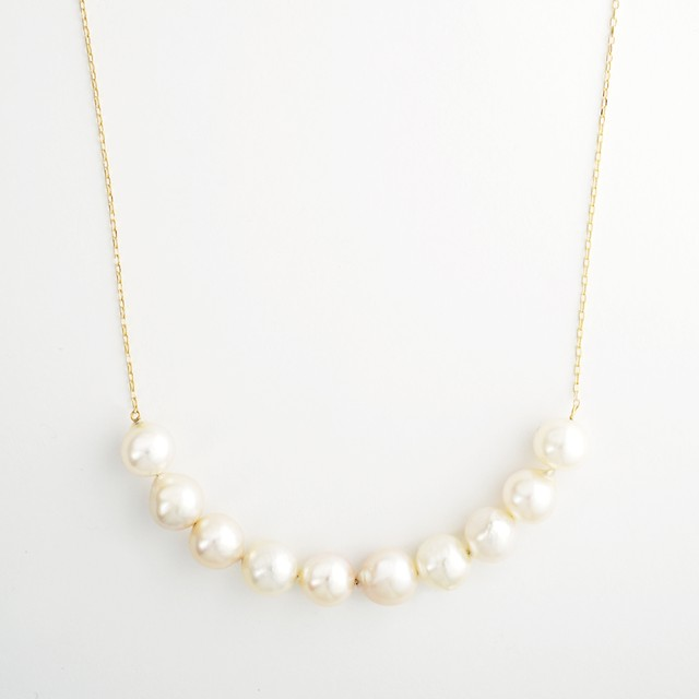 Akoya pearl stream long necklace