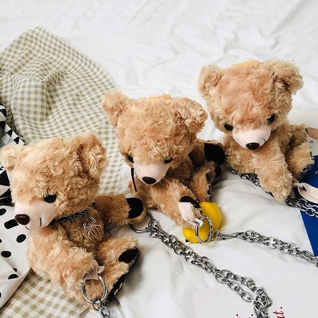 3タイプ アニマルバッグ クマ ベアー 韓国ファッション バッグ かわいい ぬいぐるみ ショルダーバッグ ファーバッグ ミニバッグ / Cute little bear shoulder bag (DTC-601746414357)