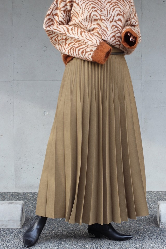 【SAYAKADAVIS】pleated long skirt-peanut
