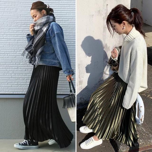 ◆即納◆ メタリックカラー プリーツスカート c51