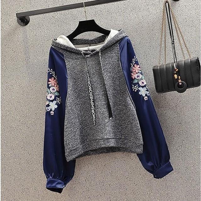 【大きいサイズ】【韓国レディースファッション】  6338 お洒落 カジュアル 刺繍 異素材 パーカー 送料無料
