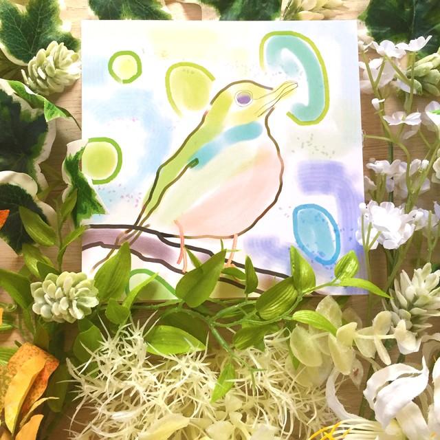 絵画 インテリア アートパネル 雑貨 壁掛け 置物 おしゃれ 水彩画 鳥 ロココロ 画家 : YUTA SASAKI 作品 : 小鳥の気持ち