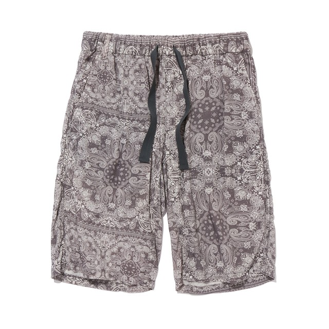 BANDANA PRINTED EASY SHORT PANTS -GRAY