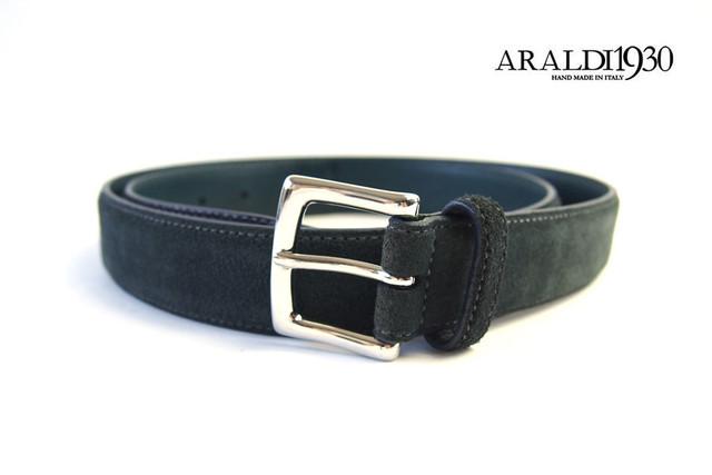 アラルディ|ARALDI 1930|レザー&スエードコンビベルト|グリーン×ネイビー