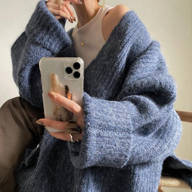 Vneck over knit/blue