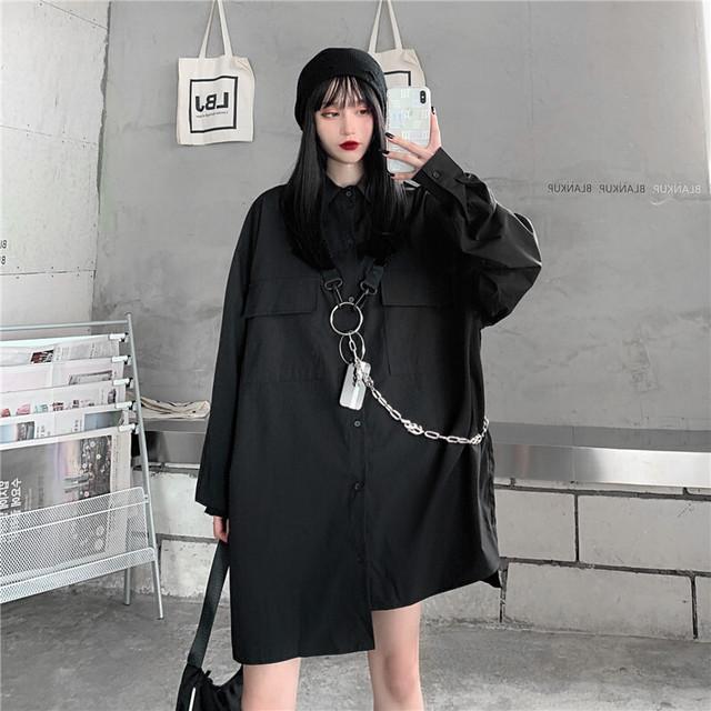 【トップス】暗黒系ストリートファッション長袖無地シャツ42115880