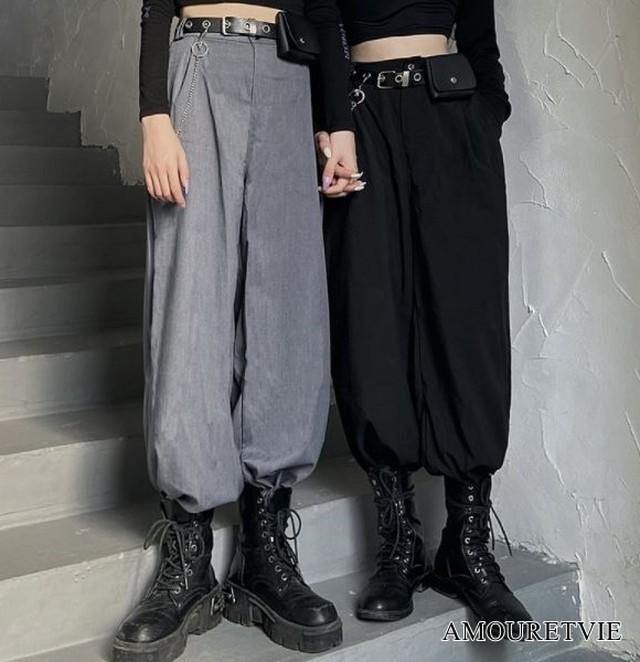 カジュアルパンツ スタイリッシュ ストリート グレー ブラック ピープス オルチャン 韓国ファッション 1650