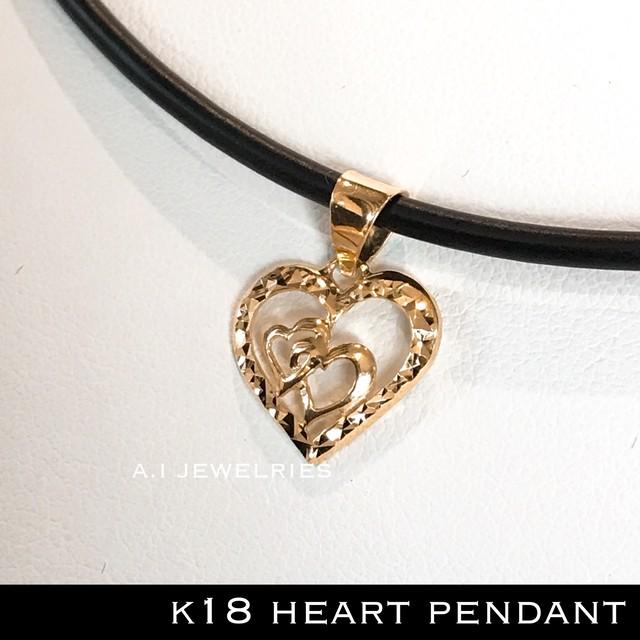 k18 18金 ハート ペンダント ミラー加工 / heart pendant mirror cut