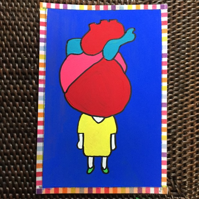 HEART GIRL /100mm×148mm/Acrylic painting/ Original Drawing