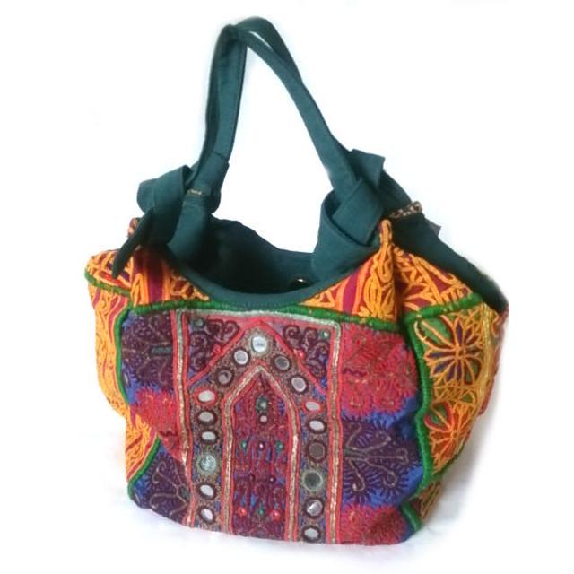 パッチワークミラー刺繍バッグ