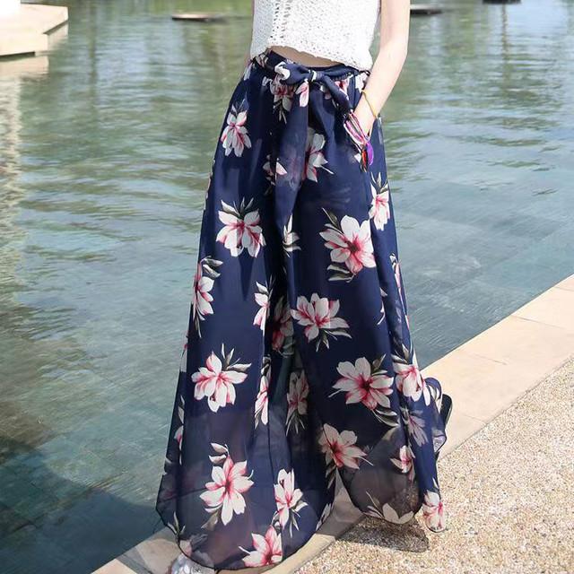 花柄シフォンパンツ*6color 100498