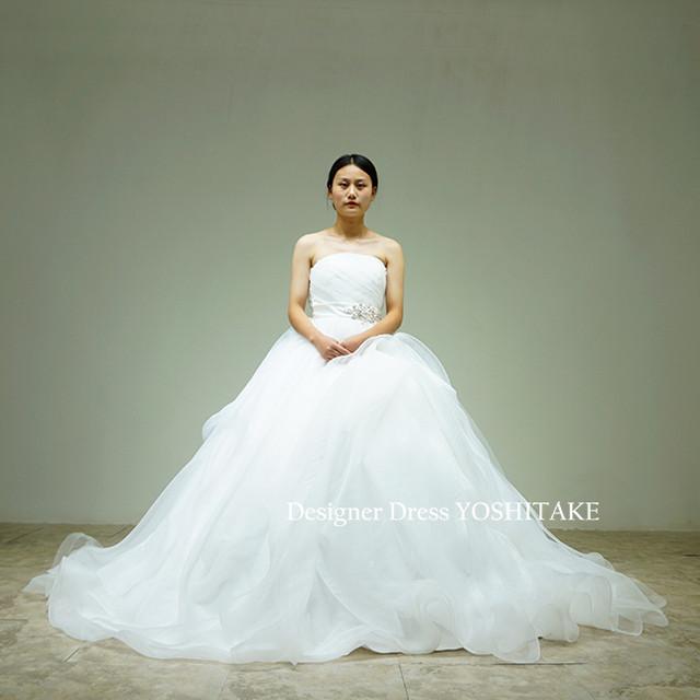 上半身プリーツ&ウエストビジューにオーガンジー素材超ふわふわスカート(パニエ付)白