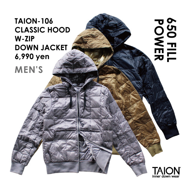 TAION-106 CLASSIC HOOD W-ZIP DOWN JACKET / 2018