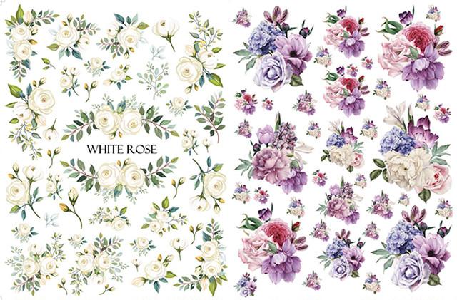 【SET割引】2枚セット ホワイトローズ・パープルフラワー (ポーセラーツ用転写紙)