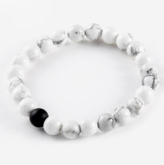 カップル ブレスレット クラシック 天然石 ホワイト ブラック 陰陽 ビーズブレスレット メンズ レディース 親友 人気 SKU-IPA-1978-white