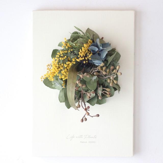 """植物キャンバスL """"ミモザとレモンユーカリの蕾のリース""""【bdfa20051】ドライフラワー"""