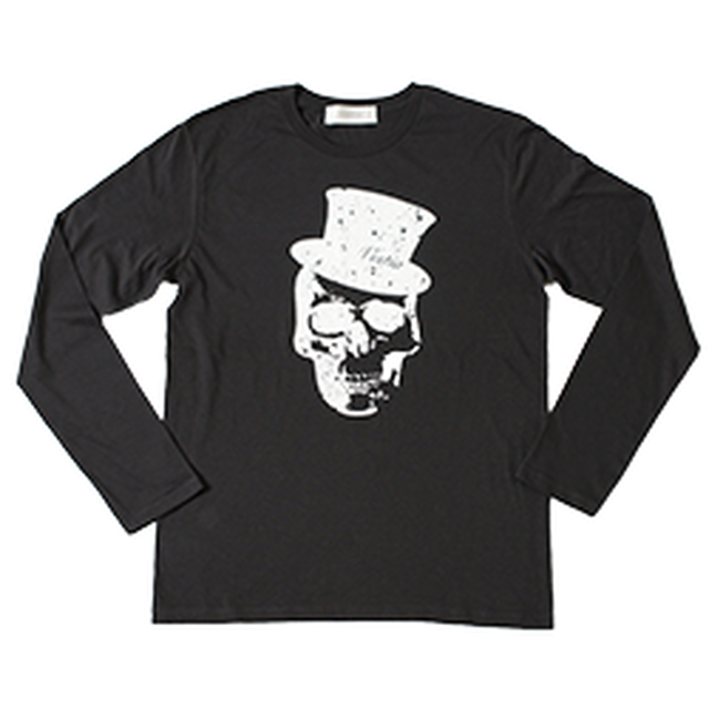 Hat skull Print Long T-shirt(Black)