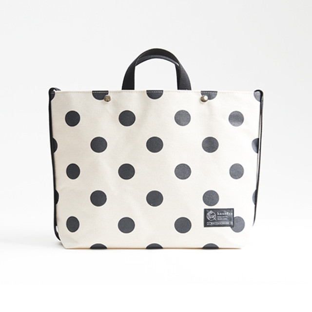 shoulder tote bag/black × polka dot ショルダートート/ 墨 x 水玉