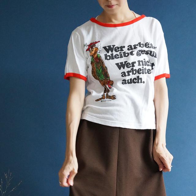【送料無料】70's Funny Print Vintage T-Shirt With Red Trim /Size 40/42