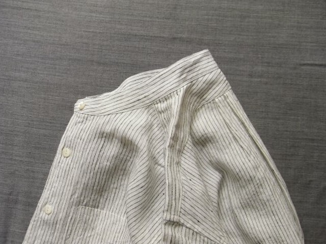 da s/c stripelinen shirt / white x blackstripe