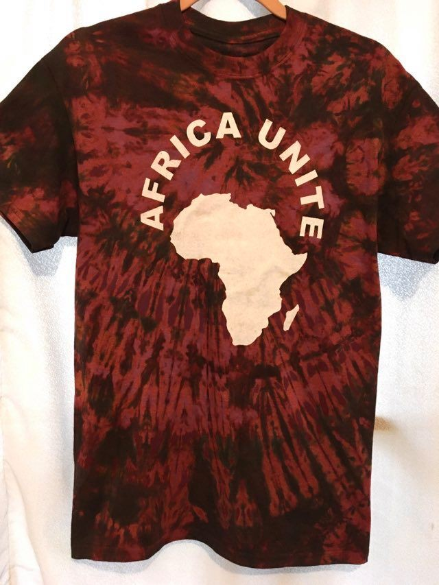 ガーナの手染めTシャツ【L】 AFRICA UNITE-⑮