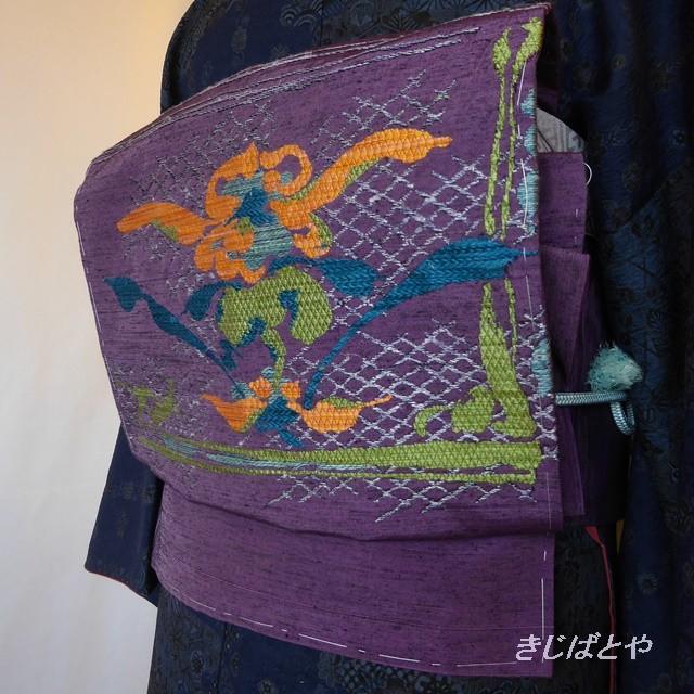 正絹紬 古代紫の織りのなごや