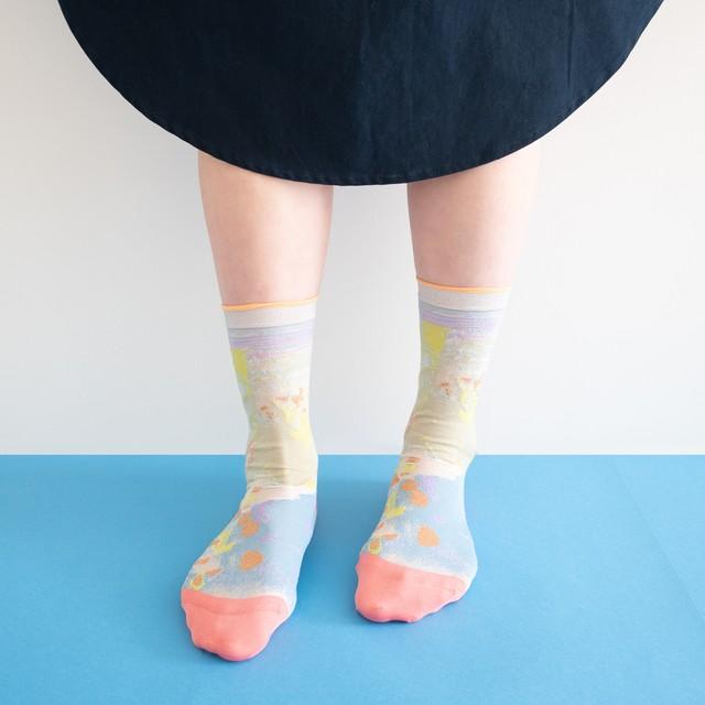 【COQ textile】葉と水の隙間・ソックス(イエロー)