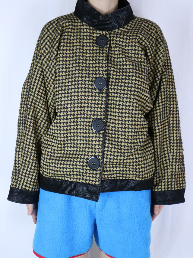 houndstooth pattern stand collar jacket 【5103】