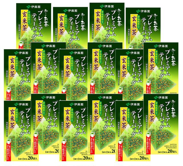 伊藤園 お〜いお茶 プレミアムティーバッグ 宇治抹茶入り玄米茶 20袋×16箱(2ケース)