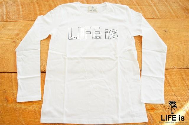 LIFEisロゴ長袖Tシャツ(white)¥3200+tax