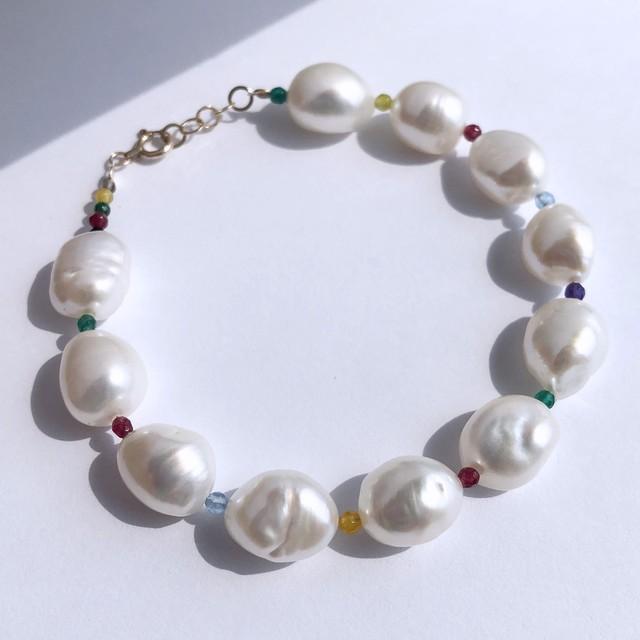 K10YG Baroque Pearl x Multi Jade Bracelet / チャリティージュエリー