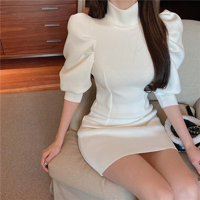 スリム ハイネック ミニドレス ワンピース 5分袖 パフスリーブ 無地 ガーリー セクシー 大人かわいい デート おでかけ 韓国 TP2476