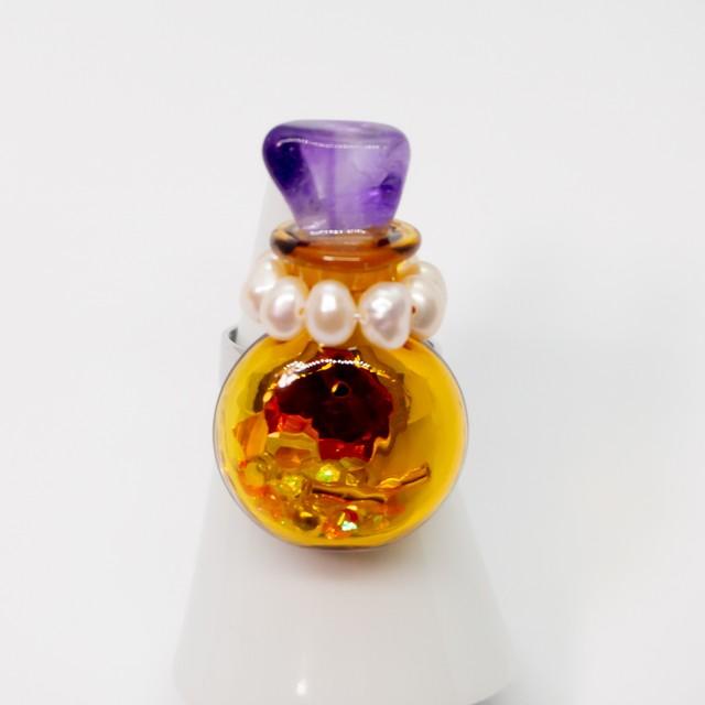 おもちゃの香水瓶リング 銀色 007