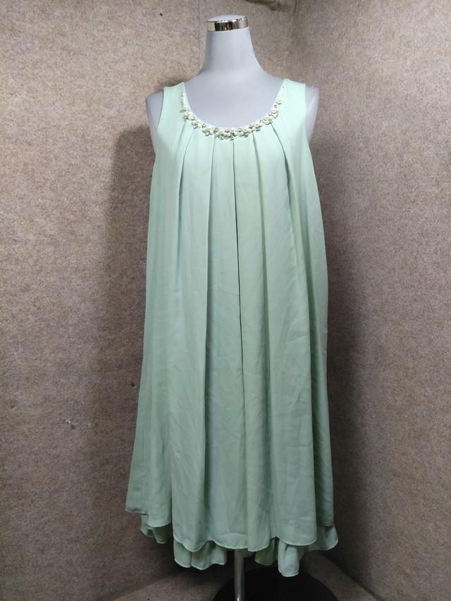 axes アクシーズ ワンピース ドレス 花装飾 グリーン系 M h1067c