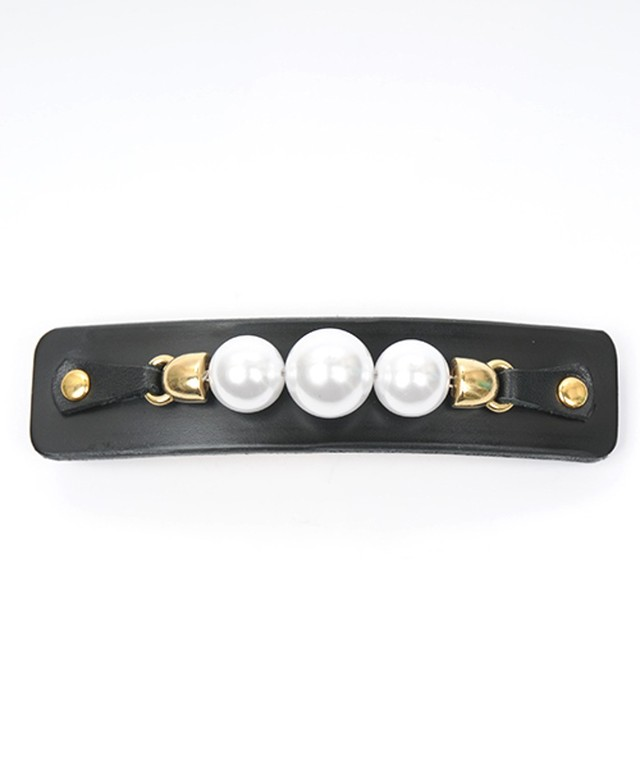 Joe17SS-63 leather pearl barrette (white)