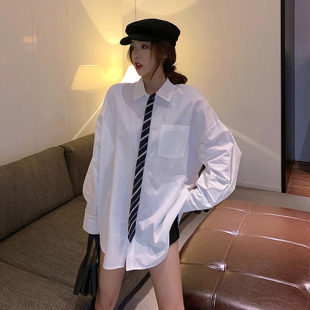 【配送優先】【トップス】韓国系合わせやすいPOLOネックセクシー長袖重ね着風シャツ26910973