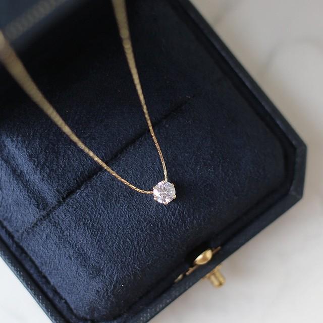 透明感のある綺麗なダイヤネックレス 華奢チェーン *min00019