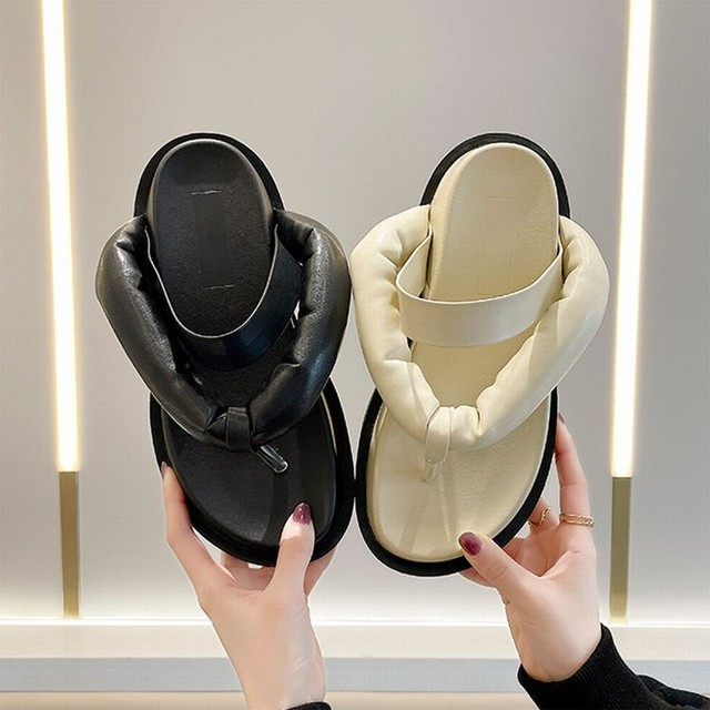 トングサンダル ぺたんこサンダル フラットサンダル ビーチサンダル 韓国ファッション レディース サンダル トレンド かわいい 歩きやすい / Platform non-slip beach sandals (DTC-642856578289)