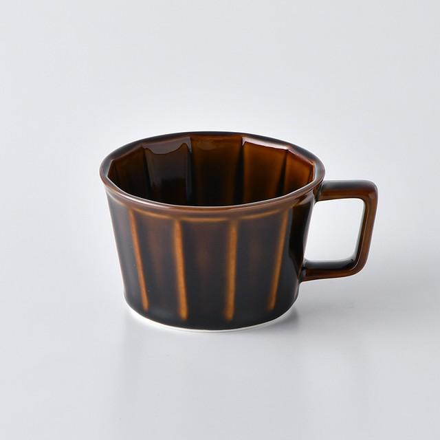 面取スープカップ・アメ釉