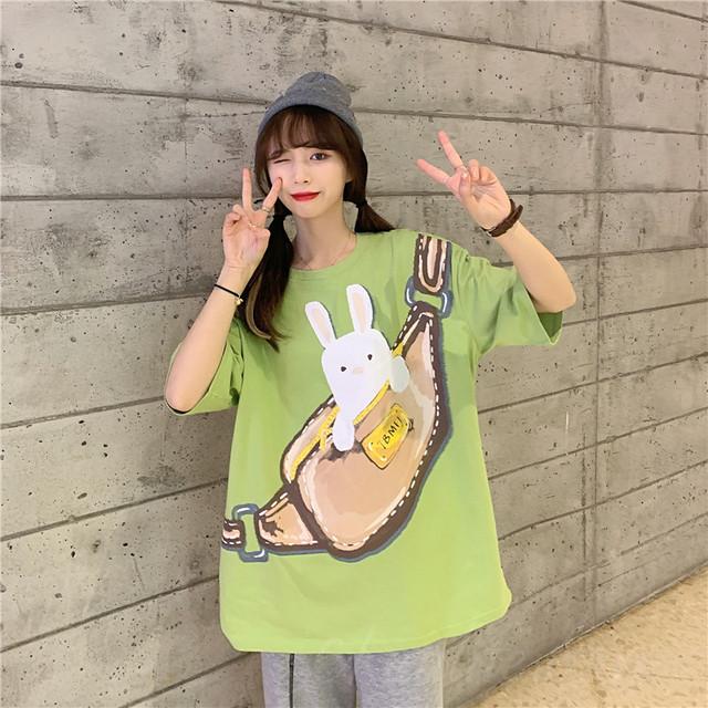 【トップス】シンプルカジュアル無地カートゥーンプリントTシャツ47913388