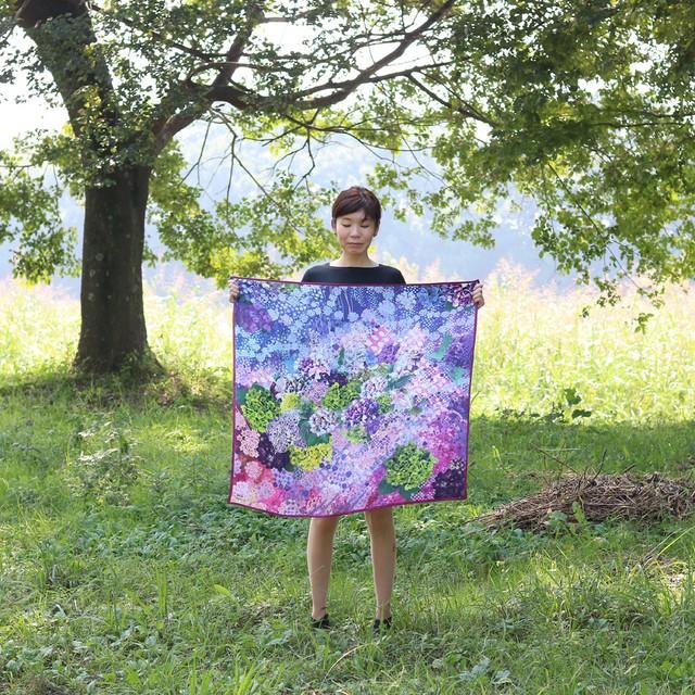 【シルクスカーフ】水の器紫陽花浮かべて(レッド・手巻き)